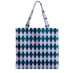 Diamond1 White Marble & Teal Leather Zipper Grocery Tote Bag by trendistuff