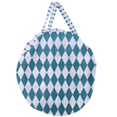 Diamond1 White Marble & Teal Leather Giant Round Zipper Tote by trendistuff