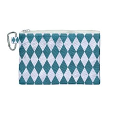 Diamond1 White Marble & Teal Leather Canvas Cosmetic Bag (medium)