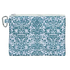 Damask2 White Marble & Teal Leather (r) Canvas Cosmetic Bag (xl) by trendistuff