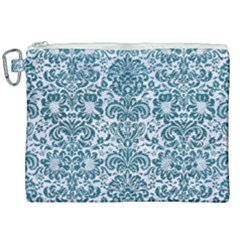 Damask2 White Marble & Teal Leather (r) Canvas Cosmetic Bag (xxl)
