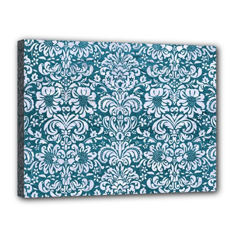 Damask2 White Marble & Teal Leather Canvas 16  X 12  by trendistuff