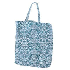 Damask2 White Marble & Teal Leather Giant Grocery Zipper Tote by trendistuff