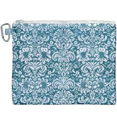 Damask2 White Marble & Teal Leather Canvas Cosmetic Bag (xxxl) by trendistuff