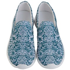 Damask2 White Marble & Teal Leather Men s Lightweight Slip Ons