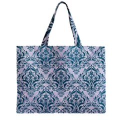 Damask1 White Marble & Teal Leather (r) Zipper Mini Tote Bag by trendistuff