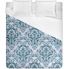Damask1 White Marble & Teal Leather (r) Duvet Cover (california King Size) by trendistuff