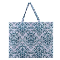 Damask1 White Marble & Teal Leather (r) Zipper Large Tote Bag by trendistuff