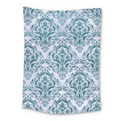 Damask1 White Marble & Teal Leather (r) Medium Tapestry by trendistuff
