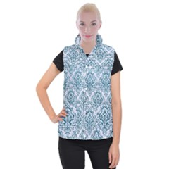 Damask1 White Marble & Teal Leather (r) Women s Button Up Vest by trendistuff