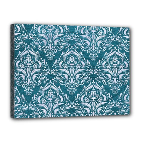 Damask1 White Marble & Teal Leather Canvas 16  X 12  by trendistuff