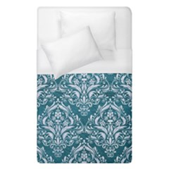 Damask1 White Marble & Teal Leather Duvet Cover (single Size) by trendistuff