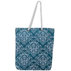 Damask1 White Marble & Teal Leather Full Print Rope Handle Tote (large) by trendistuff