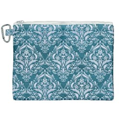 Damask1 White Marble & Teal Leather Canvas Cosmetic Bag (xxl)