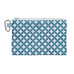 Circles3 White Marble & Teal Leather (r) Canvas Cosmetic Bag (large) by trendistuff