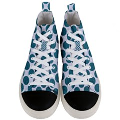 Circles2 White Marble & Teal Leather (r) Men s Mid Top Canvas Sneakers
