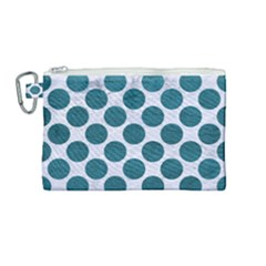Circles2 White Marble & Teal Leather (r) Canvas Cosmetic Bag (medium) by trendistuff