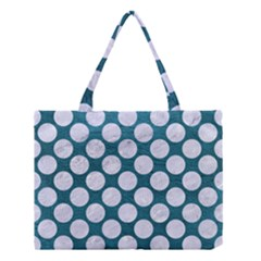 Circles2 White Marble & Teal Leather Medium Tote Bag by trendistuff