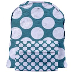 Circles2 White Marble & Teal Leather Giant Full Print Backpack by trendistuff