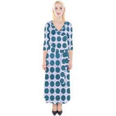 Circles1 White Marble & Teal Leather (r) Quarter Sleeve Wrap Maxi Dress