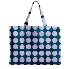 Circles1 White Marble & Teal Leather Zipper Mini Tote Bag by trendistuff