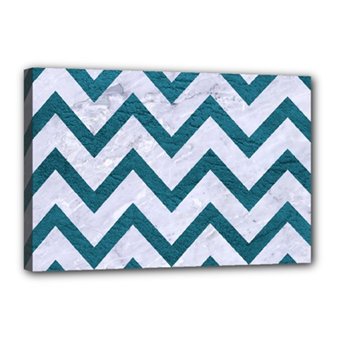 Chevron9 White Marble & Teal Leather (r) Canvas 18  X 12  by trendistuff