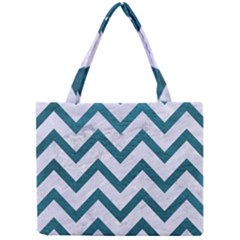 Chevron9 White Marble & Teal Leather (r) Mini Tote Bag by trendistuff