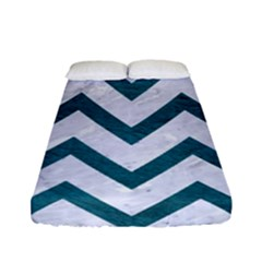 Chevron9 White Marble & Teal Leather (r) Fitted Sheet (full/ Double Size) by trendistuff