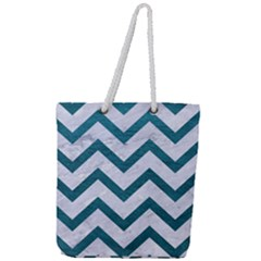 Chevron9 White Marble & Teal Leather (r) Full Print Rope Handle Tote (large) by trendistuff