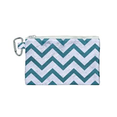 Chevron9 White Marble & Teal Leather (r) Canvas Cosmetic Bag (small) by trendistuff