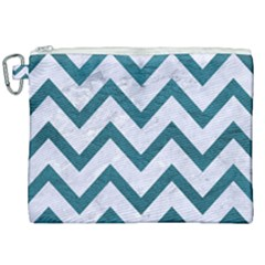 Chevron9 White Marble & Teal Leather (r) Canvas Cosmetic Bag (xxl) by trendistuff