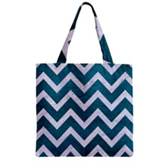 Chevron9 White Marble & Teal Leather Zipper Grocery Tote Bag by trendistuff