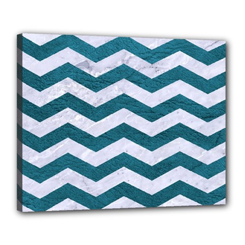 Chevron3 White Marble & Teal Leather Canvas 20  X 16  by trendistuff