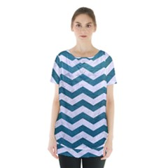 Chevron3 White Marble & Teal Leather Skirt Hem Sports Top