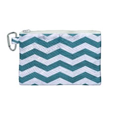 Chevron3 White Marble & Teal Leather Canvas Cosmetic Bag (medium)
