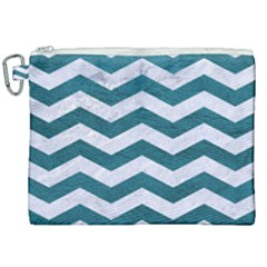 Chevron3 White Marble & Teal Leather Canvas Cosmetic Bag (xxl) by trendistuff