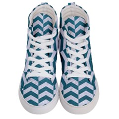 Chevron2 White Marble & Teal Leather Men s Hi Top Skate Sneakers
