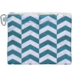 Chevron2 White Marble & Teal Leather Canvas Cosmetic Bag (xxxl) by trendistuff