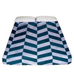 Chevron1 White Marble & Teal Leather Fitted Sheet (california King Size) by trendistuff