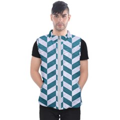 Chevron1 White Marble & Teal Leather Men s Puffer Vest