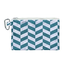 Chevron1 White Marble & Teal Leather Canvas Cosmetic Bag (medium) by trendistuff