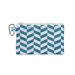 Chevron1 White Marble & Teal Leather Canvas Cosmetic Bag (small) by trendistuff