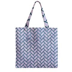 Brick2 White Marble & Teal Leather (r) Zipper Grocery Tote Bag by trendistuff