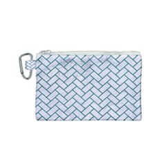Brick2 White Marble & Teal Leather (r) Canvas Cosmetic Bag (small) by trendistuff
