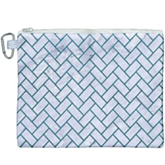 Brick2 White Marble & Teal Leather (r) Canvas Cosmetic Bag (xxxl) by trendistuff