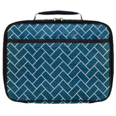 Brick2 White Marble & Teal Leather Full Print Lunch Bag by trendistuff