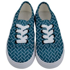 Brick2 White Marble & Teal Leather Kids  Classic Low Top Sneakers