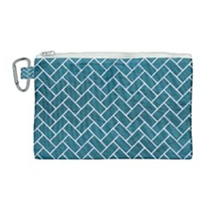 Brick2 White Marble & Teal Leather Canvas Cosmetic Bag (large) by trendistuff