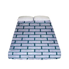 Brick1 White Marble & Teal Leather (r) Fitted Sheet (full/ Double Size) by trendistuff