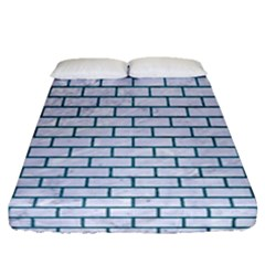 Brick1 White Marble & Teal Leather (r) Fitted Sheet (queen Size) by trendistuff